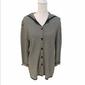 Chico's design stripe tunic hoodie linen knit